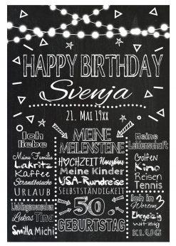 Meilensteintafel Chalkboard Geschenk 50. Geburtstag Personalisiert Mann Frau Geburtstagstafel Lights