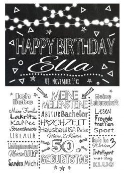 Meilensteintafel Chalkboard Geschenk 50. Geburtstag Personalisiert Mann Frau Geburtstagstafel Lights White