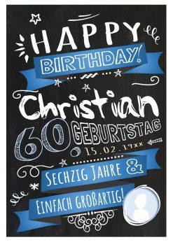 Meilensteintafel Chalkboard Geschenk 60. Geburtstag Retro Edel Mann Frau Geburtstagstafel Blau Personalisiert