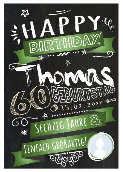 Meilensteintafel Chalkboard Geschenk 60. Geburtstag Retro Edel Mann Frau Geburtstagstafel Grün Personalisiert
