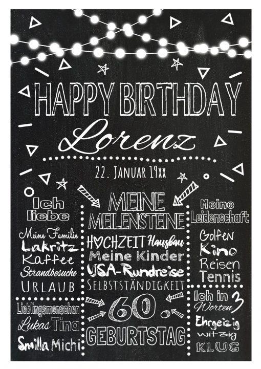 Meilensteintafel Chalkboard Geschenk 60. Geburtstag Personalisiert Mann Frau Geburtstagstafel Lights
