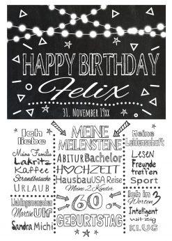 Meilensteintafel Chalkboard Geschenk 60. Geburtstag Personalisiert Mann Frau Geburtstagstafel Lights White