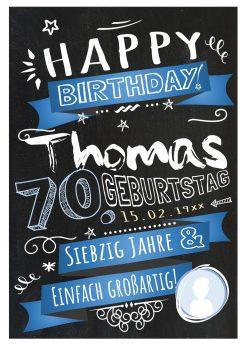 Meilensteintafel Chalkboard Geschenk 70. Geburtstag Retro Edel Mann Frau Geburtstagstafel Blau Personalisiert