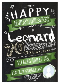 Meilensteintafel Chalkboard Geschenk 70. Geburtstag Retro Edel Mann Frau Geburtstagstafel Grün Personalisiert