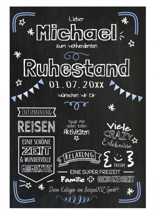Meilensteintafel Chalkboard Geschenk Ruhestand Rente Personalisiert Kreidetafel Blau