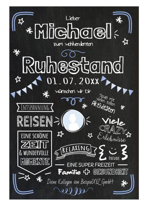Meilensteintafel Chalkboard Geschenk Ruhestand Rente Personalisiert Kreidetafel Blau Foto