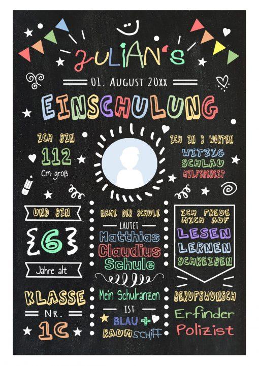 Meilensteintafel Chalkboard Geschenk Zur Einschulung Einschulungsposter Personalisiert Klassik Junge