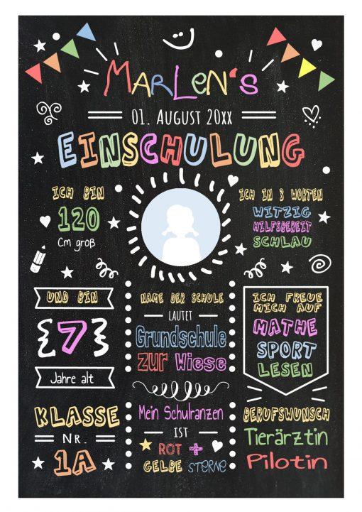 Meilensteintafel Chalkboard Geschenk Zur Einschulung Einschulungsposter Personalisiert Klassik Mädchen