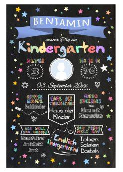 Meilensteintafel Chalkboard Kindergartenstart Geschenk Personalisiert Chalkboard Kita Start Mädchen Junge Blau Twinkle Star