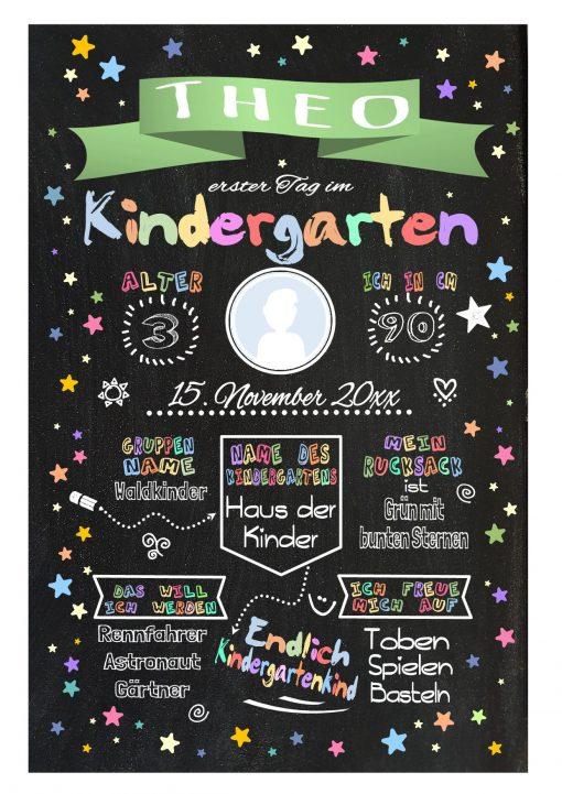 Meilensteintafel Chalkboard Kindergartenstart Geschenk Personalisiert Chalkboard Kita Start Mädchen Junge Grün Twinkle Star
