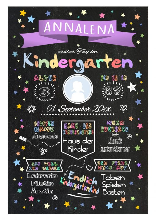 Meilensteintafel Chalkboard Kindergartenstart Geschenk Personalisiert Chalkboard Kita Start Mädchen Junge Lila Twinkle Star