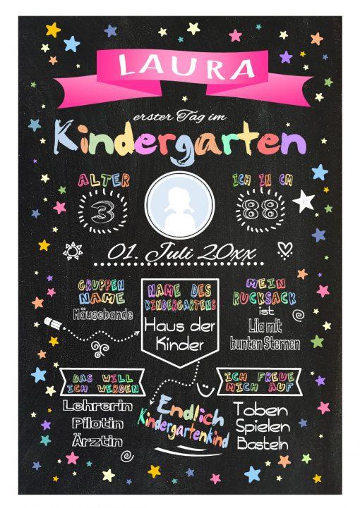 Meilensteintafel Chalkboard Kindergartenstart Geschenk Personalisiert Chalkboard Kita Start Mädchen Junge Pink Twinkle Star