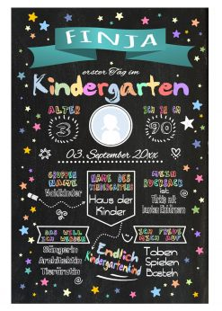 Meilensteintafel Chalkboard Kindergartenstart Geschenk Personalisiert Chalkboard Kita Start Mädchen Junge Türkis Twinkle Star