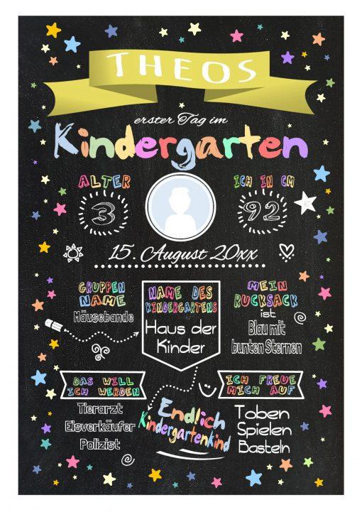 Meilensteintafel Chalkboard Kindergartenstart Geschenk Personalisiert Kita Start Junge Mädchen Gelb Twinkle Star