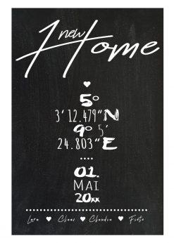 Meilensteintafel Chalkboard Zuhause Home Einweihung Koordinaten Personalisiert Chalk 1