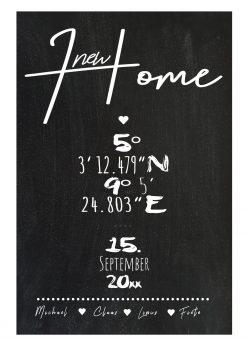 Meilensteintafel Chalkboard Zuhause Home Einweihung Koordinaten Personalisiert Chalk 2