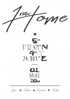 Meilensteintafel Chalkboard Zuhause Home Einweihung Koordinaten Personalisiert White 1