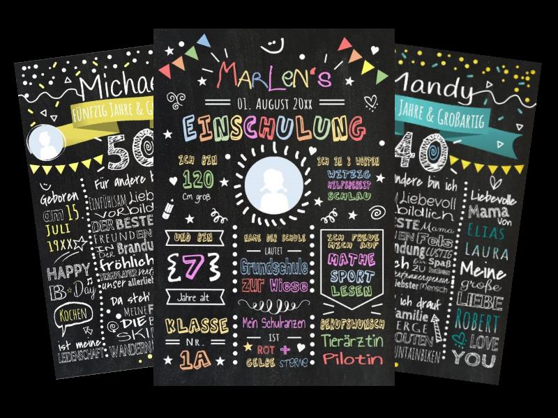 Meilensteintafel Chalkboard Personalisiert Vorlage