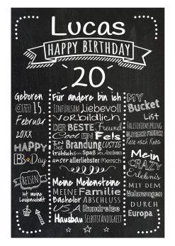 Meilensteintafel Chalkboards 20. Geburtstag Geschenk Personalisiert Retro Dots Mann Frau Geburtstagstafel