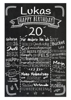 Meilensteintafel Chalkboards 20. Geburtstag Geschenk Personalisiert Retro Stripes Mann Frau Geburtstagstafel
