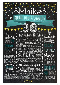 Meilensteintafel Chalkboards 30. Geburtstag Geschenk Personalisiert Geburtstagstafel Mann Frau Gold Türkis Klassik