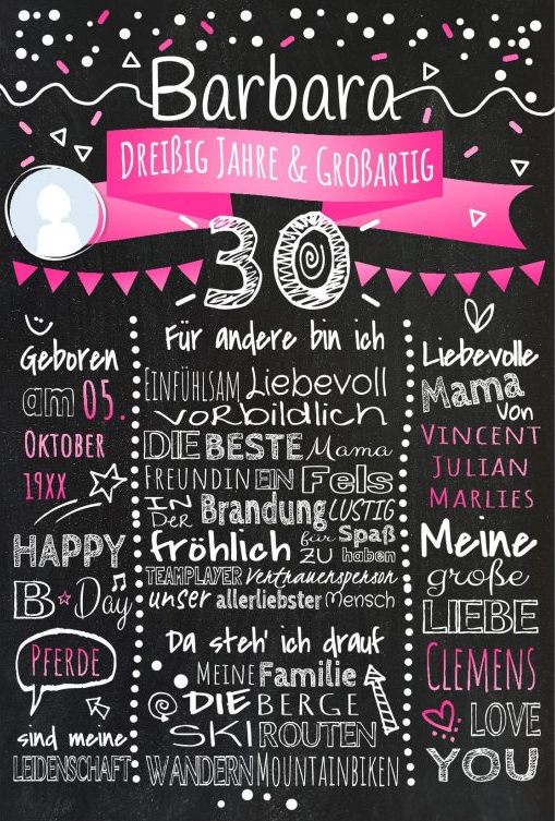 Meilensteintafel Chalkboards 30. Geburtstag Geschenk Personalisiert Geburtstagstafel Mann Frau Pink Klassik Foto 566x800