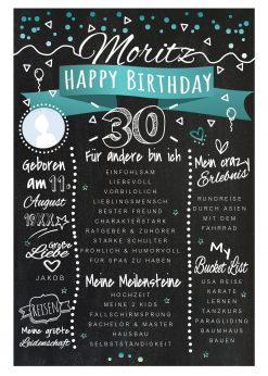 Meilensteintafel Chalkboards 30. Geburtstag Geschenk Personalisiert Happy Birthday Geburtstagstafel Türkis Mann Frau 2