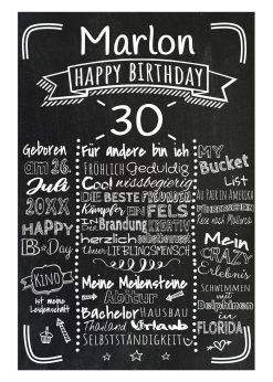 Meilensteintafel Chalkboards 30. Geburtstag Geschenk Personalisiert Retro Stripes Mann Frau Geburtstagstafel