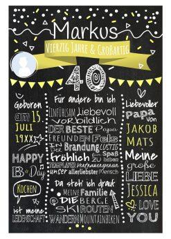 Meilensteintafel Chalkboards 40. Geburtstag Geschenk Personalisiert Geburtstagstafel Mann Frau Gelb Klassik Foto