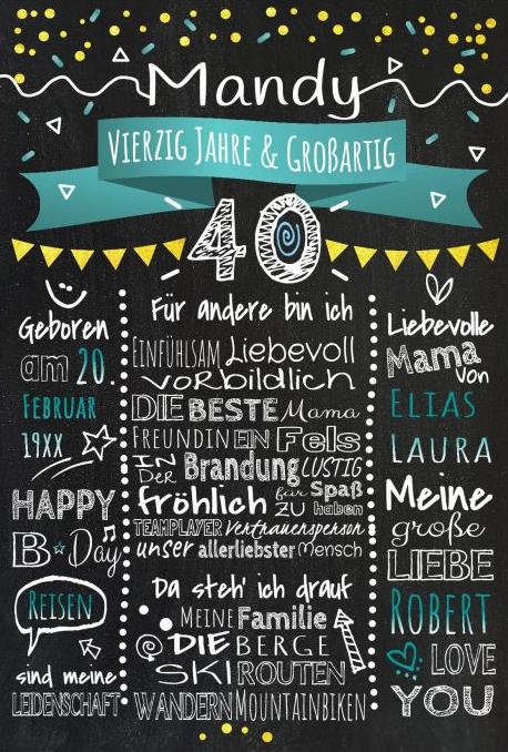 Meilensteintafel Chalkboards 40. Geburtstag Geschenk Personalisiert Geburtstagstafel Mann Frau Gold Tuerkis Klassik 510x721 Or