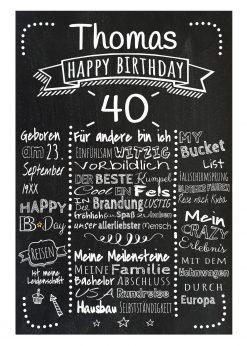 Meilensteintafel Chalkboards 40. Geburtstag Geschenk Personalisiert Retro Dots Mann Frau Geburtstagstafel