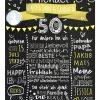 Meilensteintafel Chalkboards 50. Geburtstag Geschenk Personalisiert Geburtstagstafel Mann Frau Gelb Klassik Foto