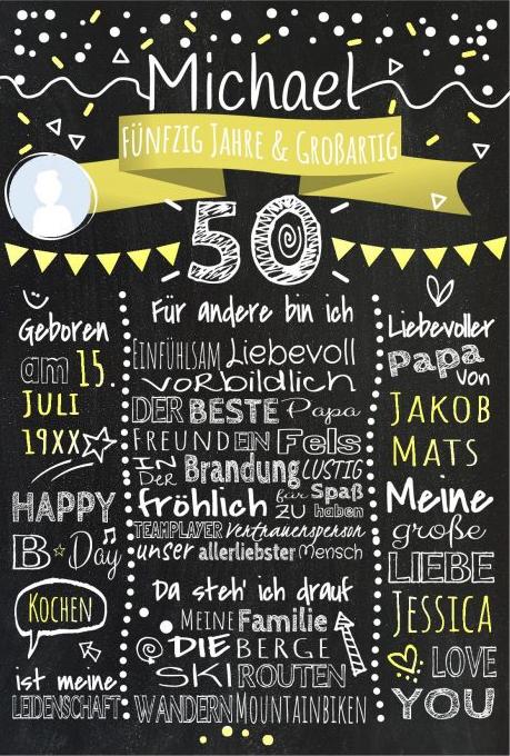 Meilensteintafel Chalkboards 50. Geburtstag Geschenk Personalisiert Geburtstagstafel Mann Frau Gelb Klassik Foto 510x721 Or