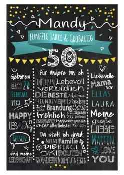 Meilensteintafel Chalkboards 50. Geburtstag Geschenk Personalisiert Geburtstagstafel Mann Frau Gold Türkis Klassik