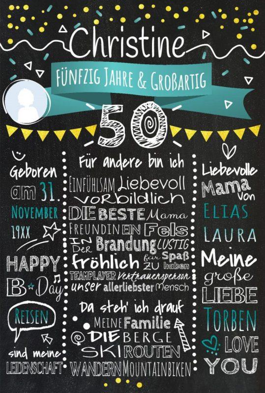 Meilensteintafel Chalkboards 50. Geburtstag Geschenk Personalisiert Geburtstagstafel Mann Frau Gold Tuerkis Klassik Foto Or