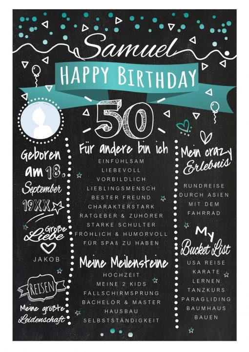 Meilensteintafel Chalkboards 50. Geburtstag Geschenk Personalisiert Happy Birthday Geburtstagstafel Türkis Mann Frau