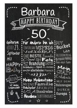 Meilensteintafel Chalkboards 50. Geburtstag Geschenk Personalisiert Retro Dots Mann Frau Geburtstagstafel