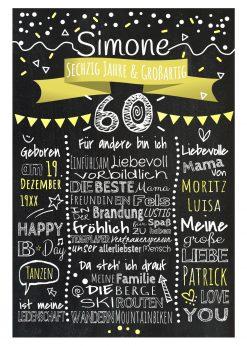 Meilensteintafel Chalkboards 60. Geburtstag Geschenk Personalisiert Geburtstagstafel Mann Frau Gelb Klassik