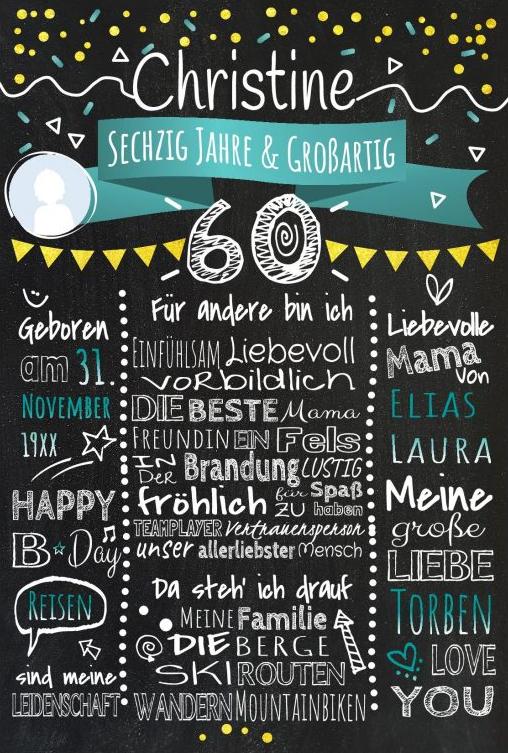 Meilensteintafel Chalkboards 60. Geburtstag Geschenk Personalisiert Geburtstagstafel Mann Frau Gold Tuerkis Klassik Foto 566x800