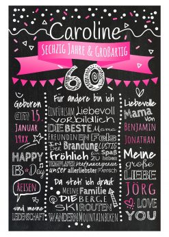 Meilensteintafel Chalkboards 60. Geburtstag Geschenk Personalisiert Geburtstagstafel Mann Frau Pink Klassik