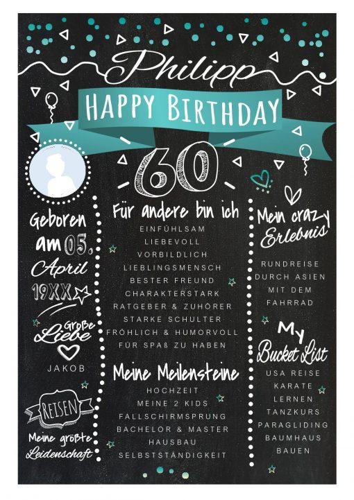 Meilensteintafel Chalkboards 60. Geburtstag Geschenk Personalisiert Happy Birthday Geburtstagstafel Türkis Frau Mann