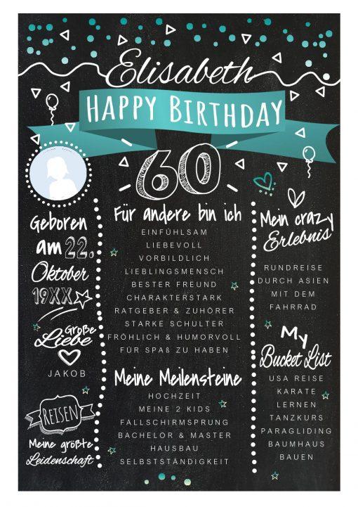 Meilensteintafel Chalkboards 60. Geburtstag Geschenk Personalisiert Happy Birthday Geburtstagstafel Türkis Mann Frau