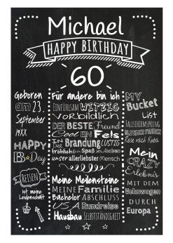 Meilensteintafel Chalkboards 60. Geburtstag Geschenk Personalisiert Retro Dots Mann Frau Geburtstagstafel