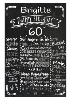Meilensteintafel Chalkboards 60. Geburtstag Geschenk Personalisiert Retro Stripes Mann Frau Geburtstagstafel