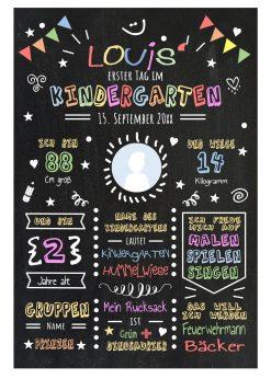 Meilensteintafel Chalkboards Geschenk Zum Kindergartenstart Personalisiert Mädchen Junge 2