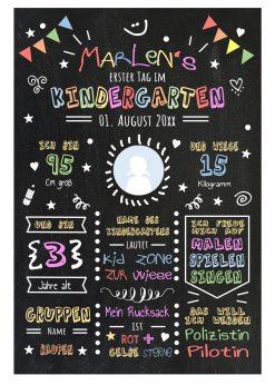 Meilensteintafel Chalkboards Geschenk Zum Kindergartenstart Personalisiert Mädchen Junge