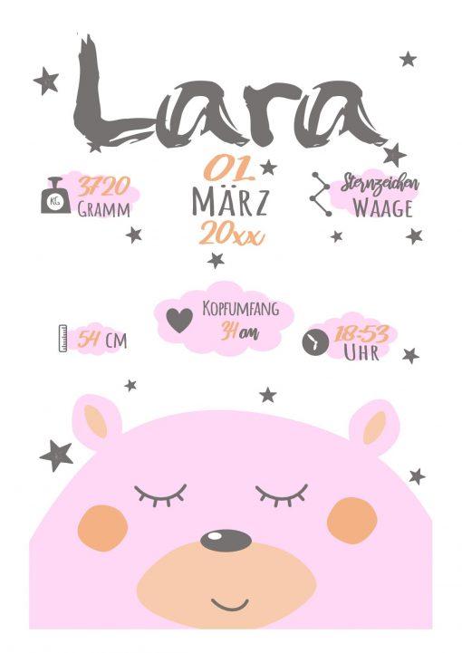 Meilensteintafel Geburt Baby Geschenk Personalisiert Mädchen Junge Whiteboard Bär Rosa