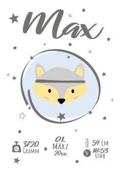 Meilensteintafel Geburt Baby Geschenk Personalisiert Mädchen Junge Whiteboard Fuchs