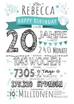 Meilensteintafel Geschenk 20. Geburtstag Personalisiert Frau Mann Geburtstagstafel Chalkboard Zahlenspaß Weiß