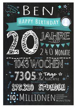 Meilensteintafel Geschenk 20. Geburtstag Personalisiert Frau Mann Geburtstagstafel Challboard Zahlenspaß